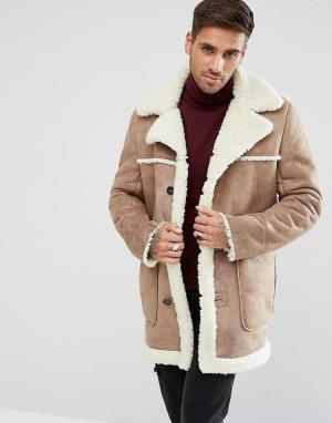 ASOS Бежевое пальто из искусственной овчины. Цвет: рыжий