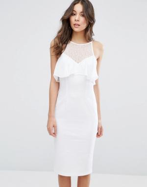 BCBG MaxAzria Облегающее платье с рюшами Illusion. Цвет: белый