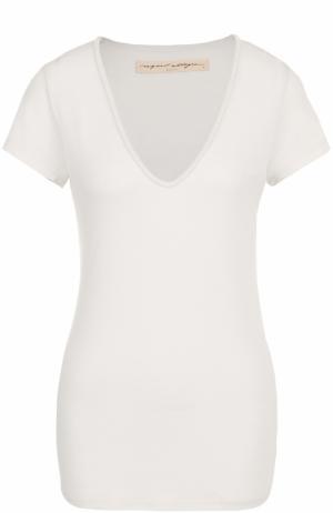 Приталенная футболка с V-образным вырезом Raquel Allegra. Цвет: белый