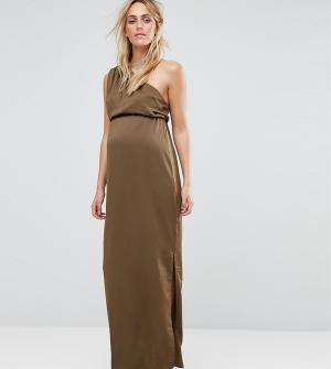 ASOS Maternity Драпированное платье макси на одно плечо для беременных. Цвет: зеленый