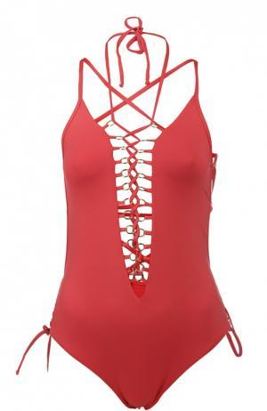 Слитный купальник со шнуровкой и кольцами NATAYAKIM. Цвет: красный