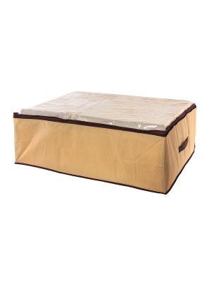 Кофр для хранения одеял и пледов Соты бежевый EL CASA. Цвет: бежевый