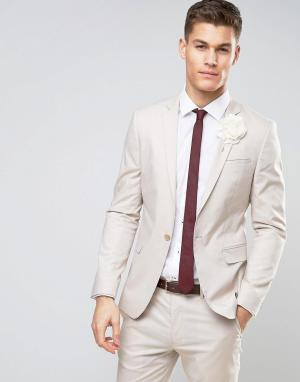 ASOS Желтовато-серый пиджак скинни из эластичного хлопка. Цвет: серый