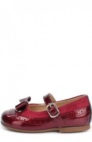 Лаковые туфли с бантом и замшевой отделкой Clarys. Цвет: бордовый