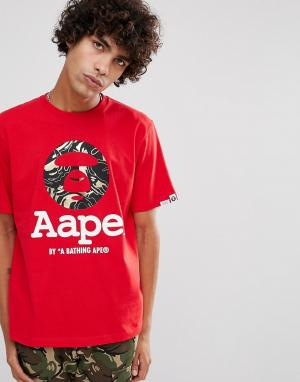 AAPE BY A BATHING APE Красная футболка с большим логотипом. Цвет: красный