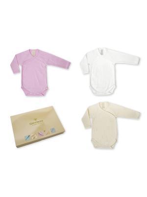 Комплект из 3-х боди-распашонок с длинным рукавом GREENERA. Цвет: белый, светло-бежевый, розовый