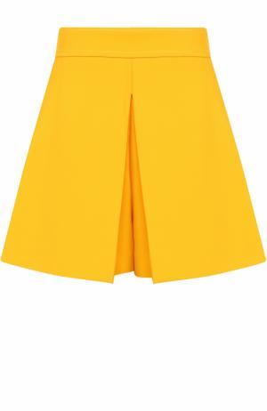 Мини-шорты с карманами и защипами Emilio Pucci. Цвет: желтый