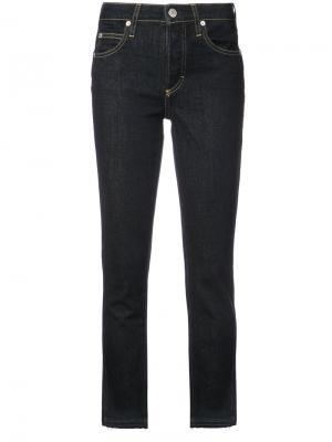 Укороченные джинсы прямого кроя Amo. Цвет: синий