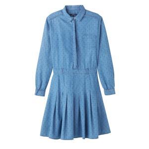 Платье короткое однотонное с длинными рукавами и складками PEPE JEANS. Цвет: синий