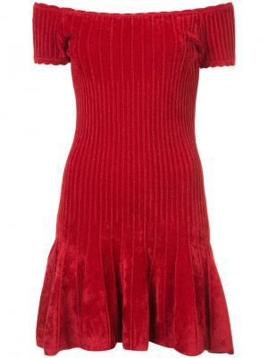 Платье с приспущенными плечами Ronny Kobo. Цвет: красный