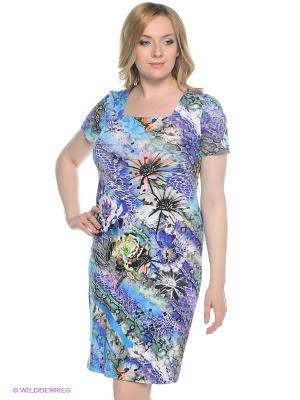 Платье СТиКО. Цвет: голубой, фиолетовый