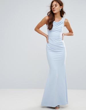 City Goddess Платье-бандо макси с юбкой-годе. Цвет: синий