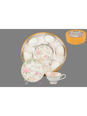 Чайный набор Карнавал цветов Elan Gallery. Цвет: белый, зеленый, розовый
