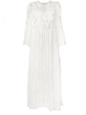Платье Valour с оборками Zimmermann. Цвет: белый