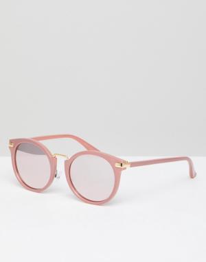 Missguided Круглые солнцезащитные очки с зеркальными стеклами. Цвет: розовый