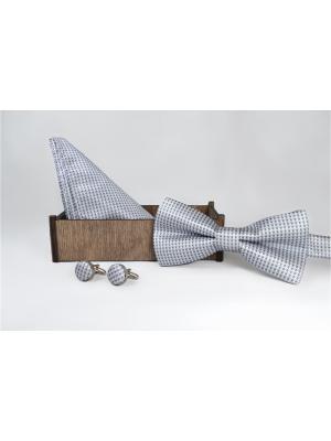 Подарочный набор: бабочка, запонки, нагрудный платок Churchill accessories. Цвет: серый