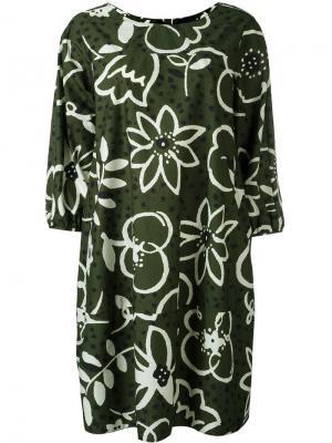 Платье свободного кроя с цветочным рисунком Aspesi. Цвет: зелёный
