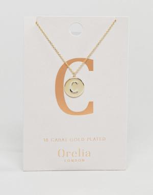 Orelia Позолоченное ожерелье с инициалом C на подвеске-диске. Цвет: золотой