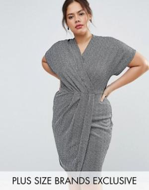 Closet Plus Платье с эффектом металлик и запахом. Цвет: серебряный