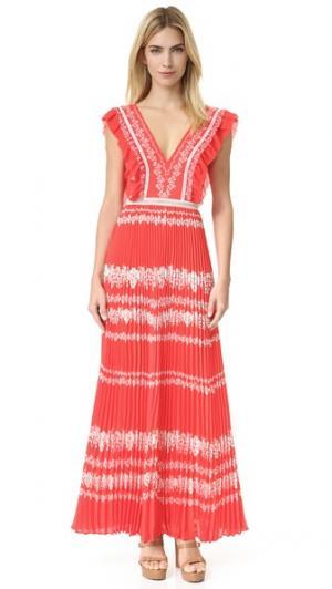 Платье Spell с цветочным принтом Self Portrait. Цвет: телесный/красный