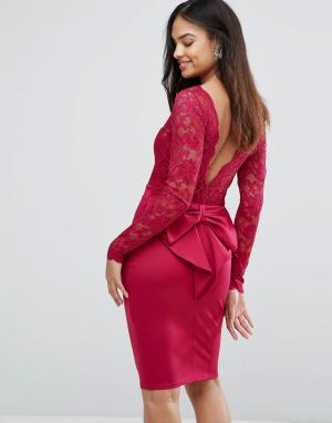 City Goddess Платье мини с длинными рукавами и кружевным лифом. Цвет: розовый