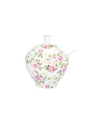 Сахарница Плетистая роза Elan Gallery. Цвет: белый, зеленый, розовый