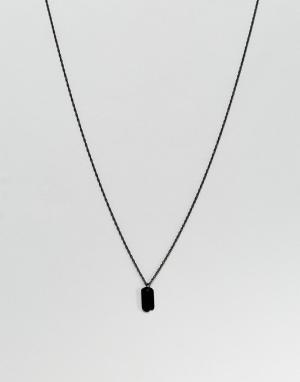 MISTER Черное ожерелье с армейским жетоном. Цвет: черный