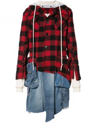 Куртка-рубашка в клетку Greg Lauren. Цвет: красный