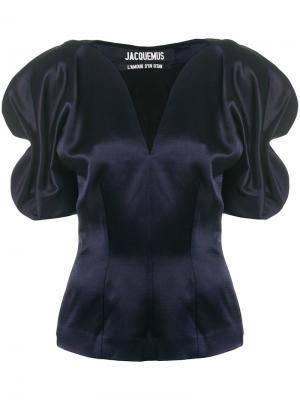 Блузка с объемными рукавами со сборками Jacquemus. Цвет: синий