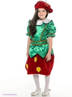 Карнавальный костюм Клубничка Батик. Цвет: зеленый, бордовый