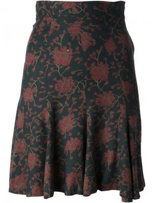 Юбка в цветок Biba Vintage. Цвет: зелёный