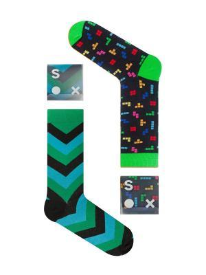 Набор Игра в геометрию (2 пары упаковке), дизайнерские носки SOXshop. Цвет: черный, зеленый