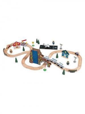 Железная дорога - деревянный игровой набор Аэро Экспресс, в  контейнере KidKraft. Цвет: бежевый
