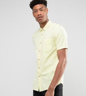 ASOS Желтая фактурная рубашка классического кроя TALL. Цвет: желтый