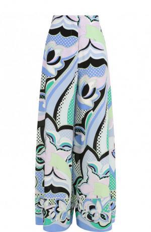 Шелковые брюки свободного кроя с принтом Emilio Pucci. Цвет: зеленый