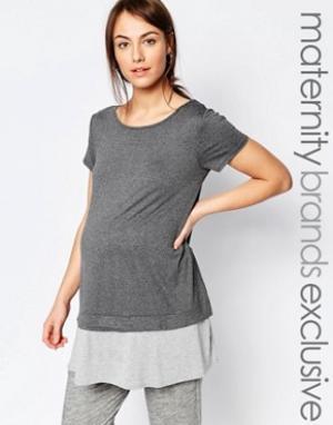 Bluebelle Maternity Двухслойная футболка для беременных. Цвет: мульти