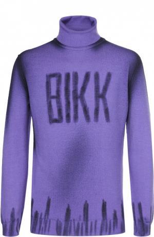 Шерстяная водолазка с контрастной отделкой Dirk Bikkembergs. Цвет: фиолетовый