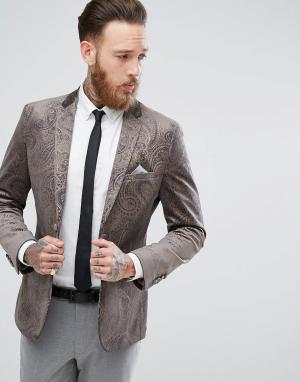 Harry Brown Бархатный пиджак приталенного кроя с золотистым тиснением. Цвет: серый