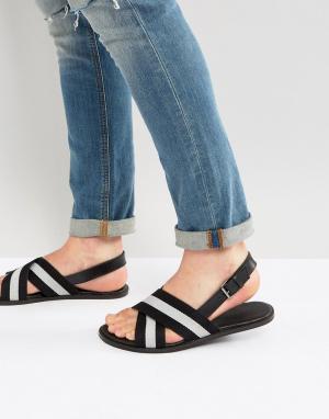 ASOS Кожаные сандалии с нейлоновыми ремешками. Цвет: черный