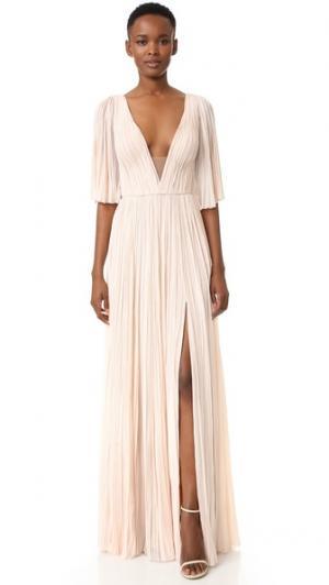 Плиссированное вечернее платье с глубоким V-образным вырезом J. Mendel. Цвет: розовый