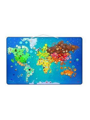Карта мира с животными Janod. Цвет: синий