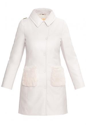 Пальто-пуховик из шерсти с меховой отделкой 176041 Cinellistudio. Цвет: розовый