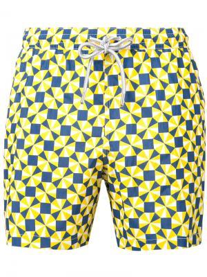 Шорты для плавания с принтом Capricode. Цвет: жёлтый и оранжевый