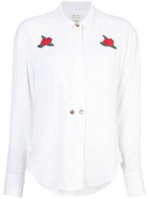 Рубашка с вышивкой роз Mcguire Denim. Цвет: белый