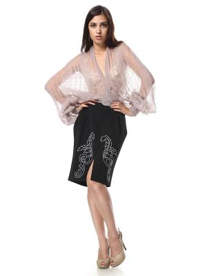 Юбка-тюльпан с карманами вышивкой Белые Цветы SEANNA
