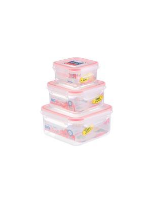 Набор 3 - х квадратных контейнеров, XEONIC CO LTD. Цвет: прозрачный, красный