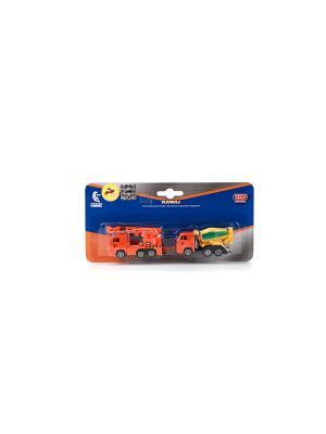 Набор из 2-х металли. моделей Технопарк КАМАЗ 7,5СМ. Цвет: оранжевый