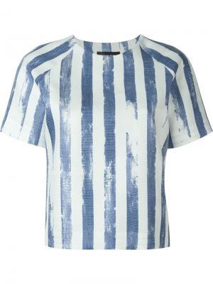 Блузка с принтом в полоску Cristiano Burani. Цвет: синий