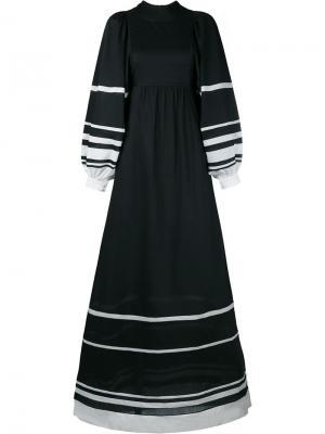 Длинное платье с полосками Vika Gazinskaya. Цвет: чёрный