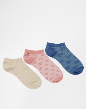 Lovestruck 3 пары розовых спортивных носков с изнаночной строчкой. Цвет: розовый